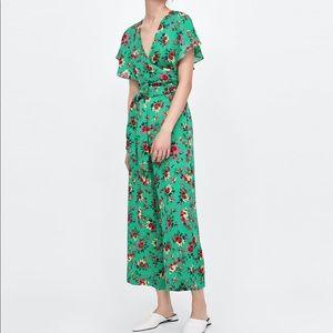 ZARA Green Floral Jumpsuit